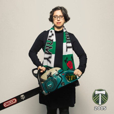 A massive photo shoot was held this year, the 5th year the Timbers played in MLS. Any fan who got into line early enough got their photo taken with axe or chainsaw.