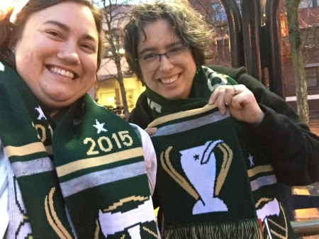 We each bought the official scarf to commemorate the event!