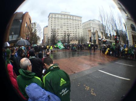 Lots of fans in downtown Portland!